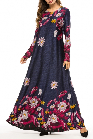 Womens New Stylish Round Neck Long Sleeve Floral Print Knit Navy Pleated Swing Maxi Dress