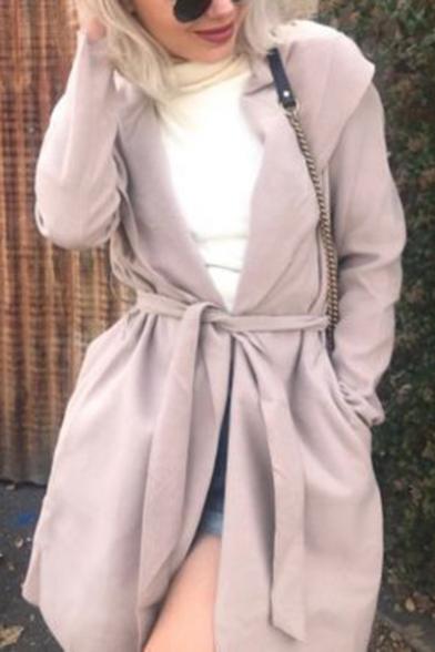 Womens New Stylish Simple Plain Hooded Long Sleeve Tied Waist Longline Trench Coat