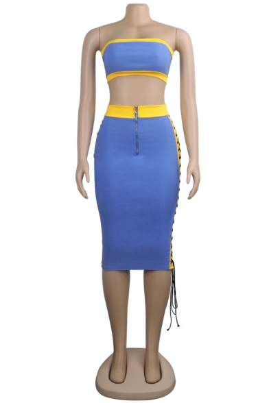 Womens Sexy Blue Patchwork Sleeveless Strapless Bandeau Top with Zipper Fly Maxi Skirt Bandage Sides Co-ords