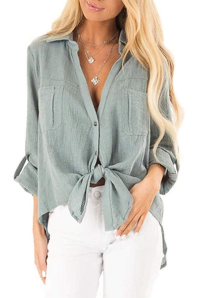 Womens Stylish Plain Long Sleeve Knotted Front Button Down Linen Shirt