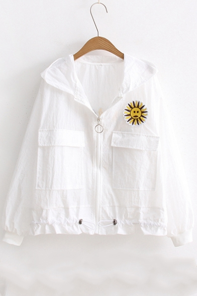Womens Summer White Funny Cartoon Sunflower Embroidery Flap Pocket Front Zip Up Hooded Sunscreen Coat