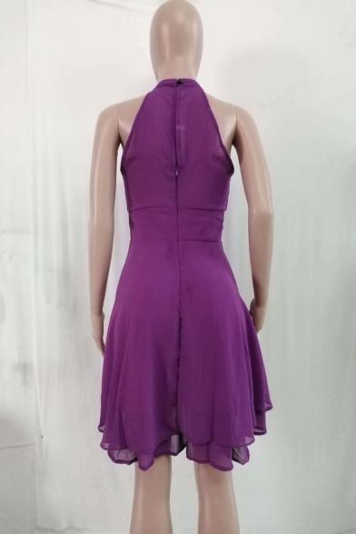Womens Trendy Plain Halter Neck Sleeveless Zipper Back Mini A-Line Dress