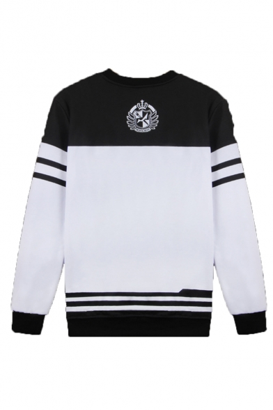 Cartoon Black and White Bear Stripe Pattern Round Neck Long Sleeve Unisex Casual Pullover Sweatshirts