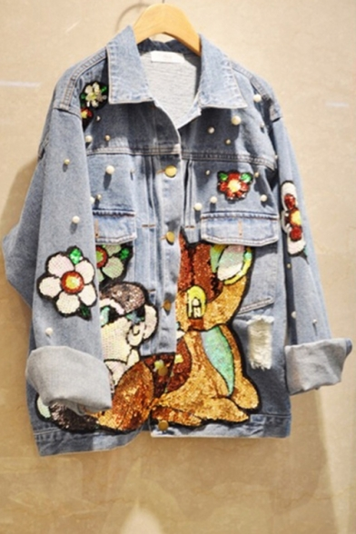 Cartoon Rabbit Floral Sequined Appliques Beading Embellished Exaggerated Short Denim Jacket Coat