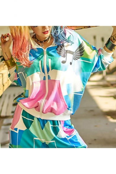 Cool Colorful Geometry Printed Long Sleeve Zip Up Hoodie With Pockets