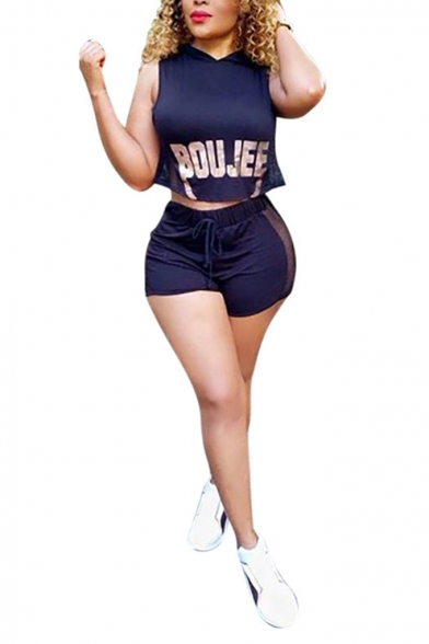 Dark Blue Letter BOUJEE Printed Sleeveless Hooded Tank with Shorts Two-Piece Set
