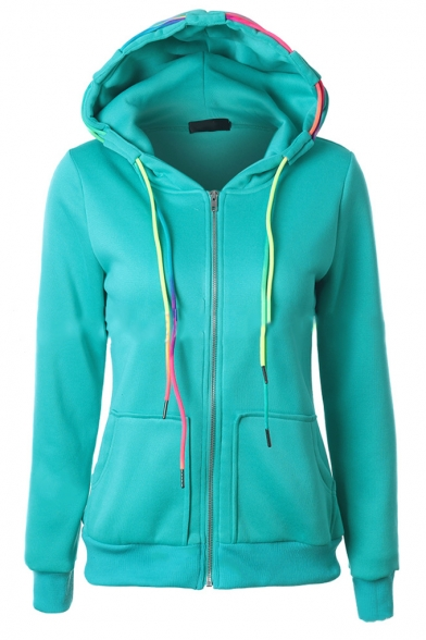 Fashion Big Pockets Colorful Drawstring Hooded Zipper Hoodie