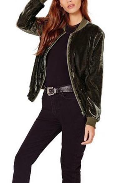 Fashion Solid Color Stand Collar Long Sleeve True Velvet Zipper Short Jacket Coat