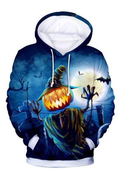 Halloween Clown Joker 3D Printed Long Sleeve Drawstring Pullover Hoodie
