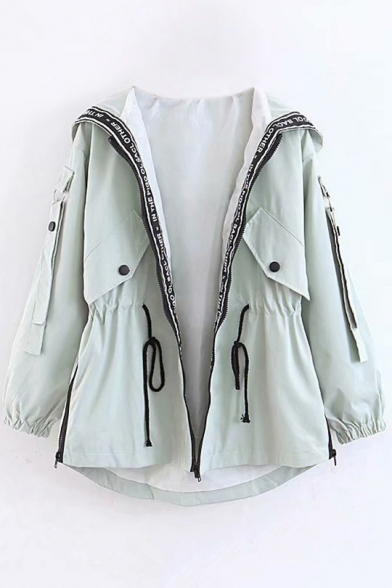 Hooded Drawstring Waist 3/4 Length Sleeve Flap Pockets with Press-Stud Fastening Zipper Trench Coat