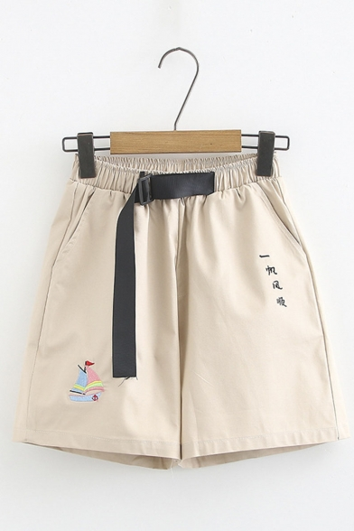 Hot Trendy Belt Waist Letter Sailing Ship Embroidered Loose Cotton Shorts LM551104 фото