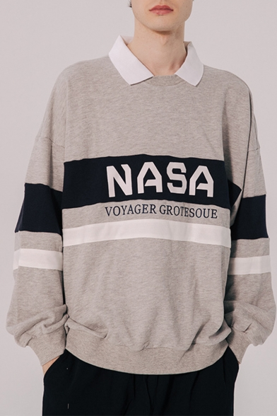 Hot Trendy Letter NASA Colorblock Stripe Pattern Long Sleeve Round Neck Unisex Casual Loose Sweatshirts
