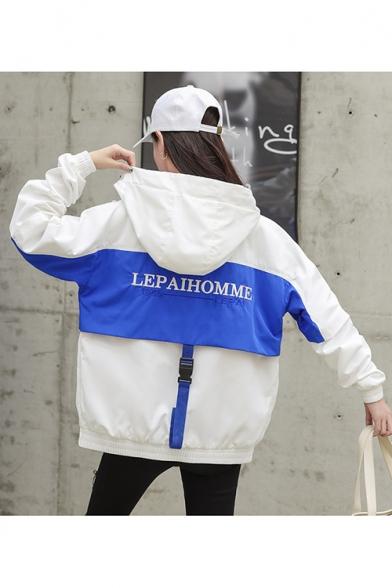 LEPAIHOMME Letter Print Buckled Strap Back Half-Button Closure Two-Tone Hooded Windbreaker Jacket
