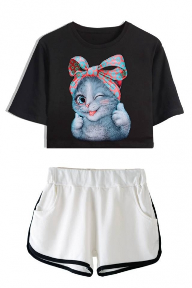 Lovely Cartoon Bow Cat Printed Short Sleeve Crop Tee with Dolphin Shorts Two-Piece Set
