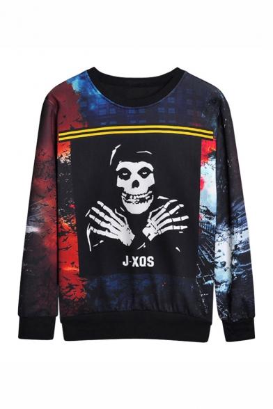 XQS Mens Long Sleeve Hoodie Sweatshirt Map Casual Pullover Top
