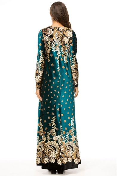Moslem New Stylish Round Neck Long Sleeve Boutique Floral Print Dark Green Swing Maxi Dress