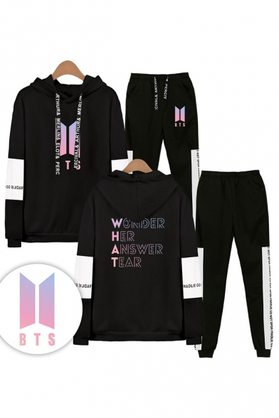 New Arrival Letters WONDER HER ANSWER TEAR Print Long Sleeve Hoodie with Elastic Sweatpants Two Piece Set, Black;white;gray;navy, LM556361