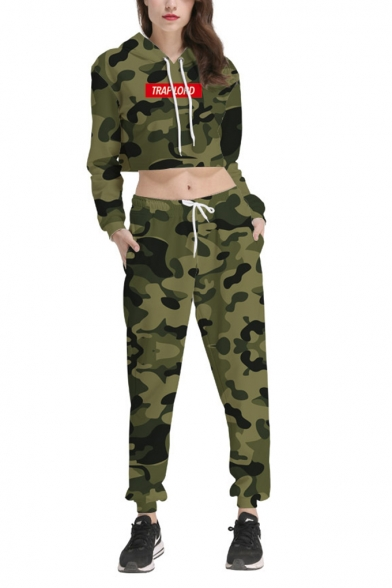 New Popular Green TRAP LORD Letter Camouflage Printed Long Sleeve Loose Cropped Hoodie