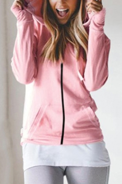 New Stylish Plain Hooded Long Sleeve Zip Up Causal Fitted Coat with Pocket, LM557436, Black;blue;pink;gray