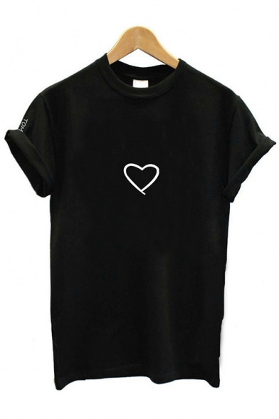 New Stylish Rolled Sleeve Round Neck Letter Heart Printed Casual Loose T-Shirt