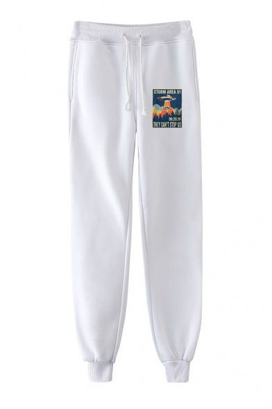 New Trendy UFO Storm Area Printed Drawstring Waist Casual Sport Joggers Sweatpants