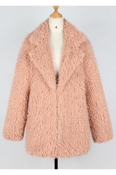 Pink Plain Faux Fur Notched Lapel Collar Long Casual Coat