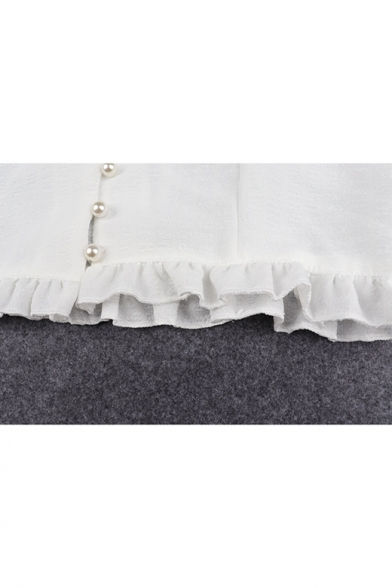 Sexy Simple Plain V-Neck Puff Short Sleeve Bow-Front Pleated Mesh Patched Cropped White Blouse&Top