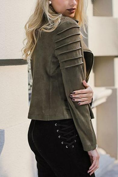 Stylish Notched Lapel Suede Zip-Cuffs Long Sleeve Short Oblique Zipper Plain Jacket