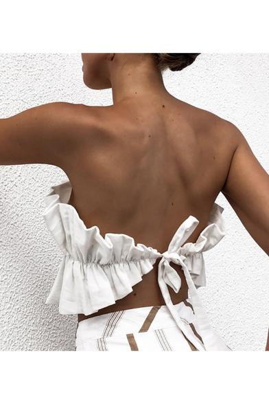 Summer Hot Fashion Off Shoulder Sleeveless Plain Bow Waist Back Pleated Cami Top