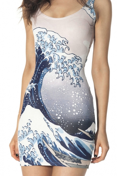 Trendy Grey Sea Wave Pattern Round Neck Sleeveless Mini Bodycon Tank Dress
