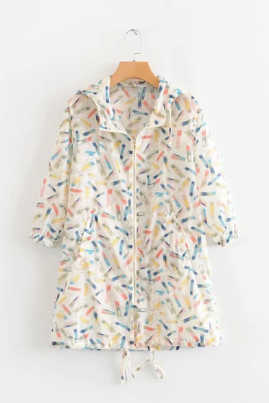 Unique Fashion Rainbow Pencil Printed Hooded Zip Up Sun Protection Longline Coat