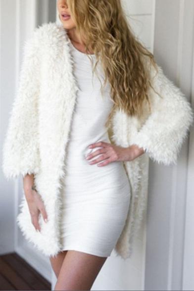 White Chic Simple Plain Open Front Long Sleeve Longline Faux Fur Coat