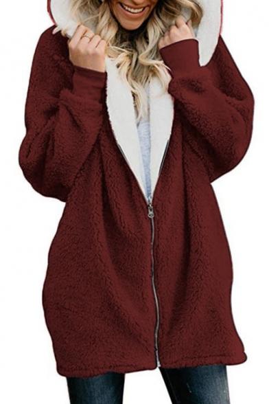 Winter's Hot Fashion Simple Plain Hooded Long Sleeve Elastic Cuffs Long Fur Coat