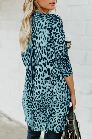 Women Hot Popular Collarless Leopard Printed Single Breasted Longline Overcoat