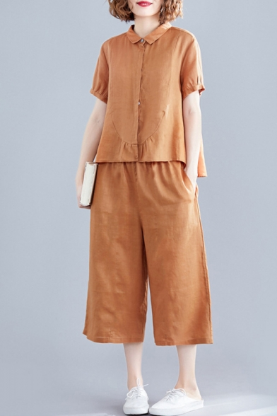 Womens Casual Orange Plain Linen Short Sleeve Collared Single Button Tops Elastic Culottes Pants Co-ords