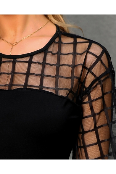 Womens Hot Trendy Sexy Plaid Print Sheer Patched Long Sleeve Round Neck Black Blouse