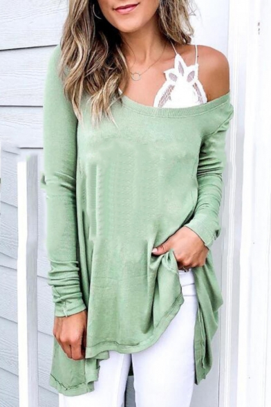 Womens New Arrival Plain Oblique Round Neck Long Sleeve Light Green Casual Tunic T-Shirt
