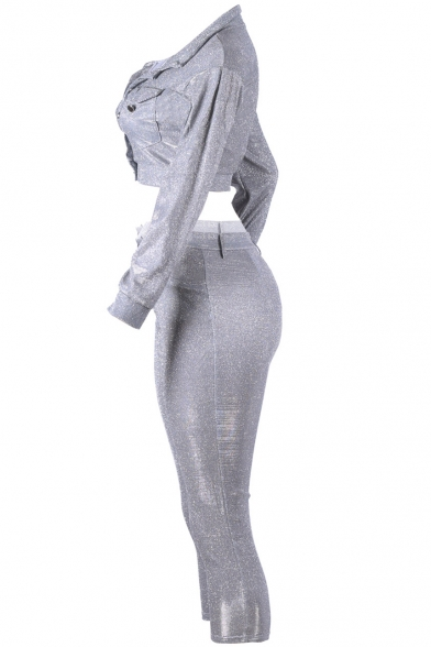 Womens Pub Style Grey Sequined Collared Neck Long Sleeve Crop Tops Zipper Fly Slim Pants Co-ords