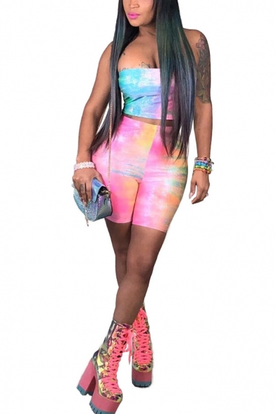 Womens Pub Styles Ombre Strapless Top High-Waist Skinny Bermuda Shorts Two-Piece Set, LM556025