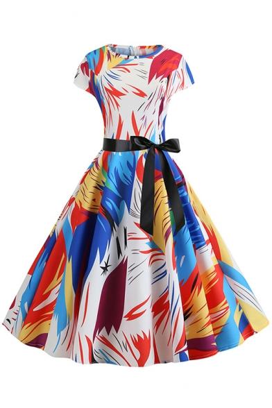 Womens Vintage Round Neck Cap Sleeve Color Block Tie Midi Fit Dress