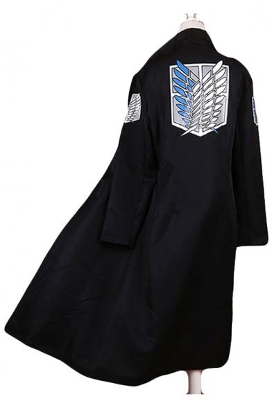 Cool Logo Printed Raglan Sleeves Longline Black Cloak Cosplay Costume Coat