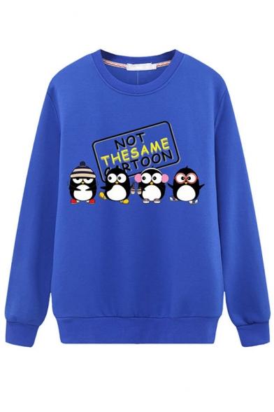 Cute Letter NOT THE SAME CARTOON Penguin Printed Long Sleeve Regular Fit Sweatshirt, Black;blue;pink;red;white;dark blue;gray;yellow, LM554615