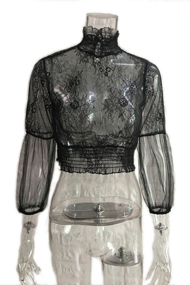 Fashion High Neck Hollow Out Lace Patched Long Sleeve Black Blouse Top
