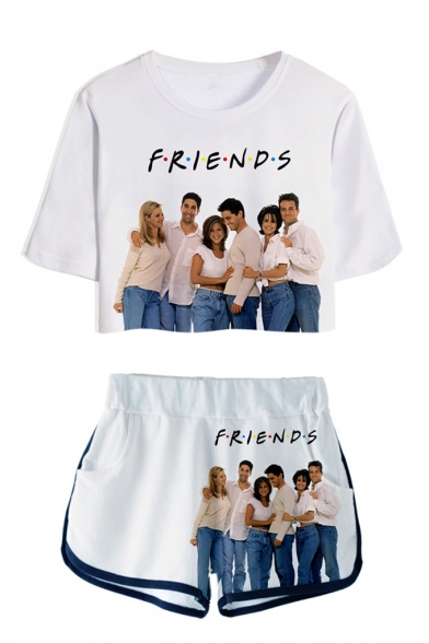 Hot Fashion Friends 3D Figure Printed Short Sleeve Crop Tee with Dolphin Shorts Two-Piece Set
