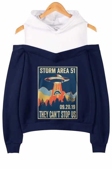 Hot Popular Letter Storm Area Pattern Cold Shoulder Long Sleeve Pullover Hoodie