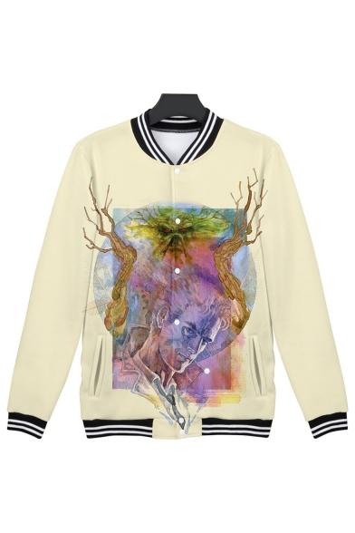 Hot Popular Swamp Thing Pattern Stand Collar Long Sleeve Beige Baseball Jacket