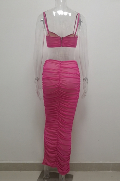Ladies Pub Party Style Red Plain Sleeveless Bustier Top with Maxi Skirt Wrinkle Co-ords