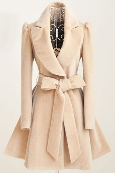 Lady Elegant Notched Lapel Gathered Tie-Waist Solid Color Wool Trench Coat