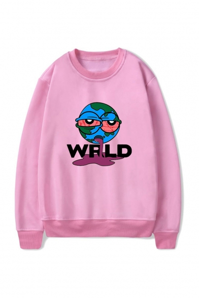 Letter WRLD Cartoon Printed Round Neck Long Sleeve Casual Sports Pullover Sweatshirts