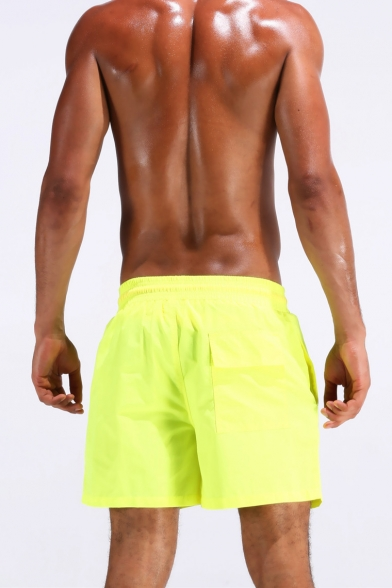 Mens Neon Blue Nylon Quick Dry Drawstring Short Solid Sports Swim Trunks Blue with Liner